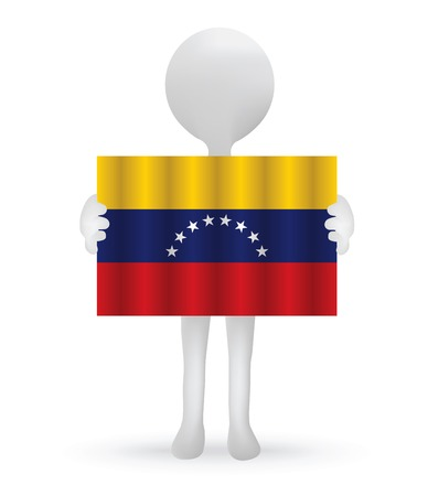 EPS Vector 10 - small 3d man holding a Venezuelan Flag Stock Vector - 29026079