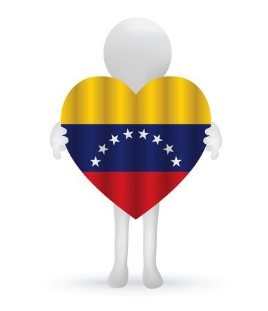 venezuelan: EPS Vector 10 - peque�o hombre 3d que sostiene una bandera de Venezuela