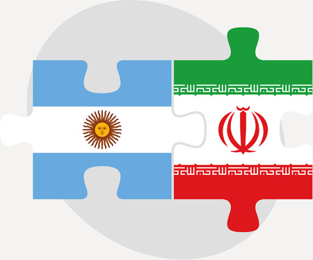 iranian: Vector illustration of Argentinian and Iranian Flags in puzzle isolated on white background