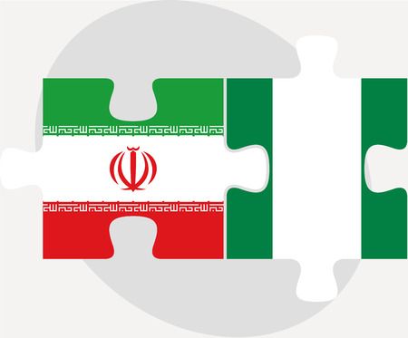 iranian: Vector illustration of Iranian and Nigerian Flags in puzzle isolated on white background