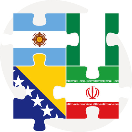 iranian: Vector illustration of Argentinian, Iranian, Bosnia Herzegovinan and Nigerian Flags in puzzle isolated on white background Illustration