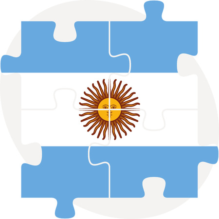 argentinian flag: Vector illustration of Argentinian Flag in puzzle isolated on white background