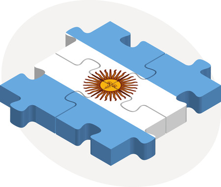 Vector illustration of Argentinian Flag in puzzle isolated on white background Vector