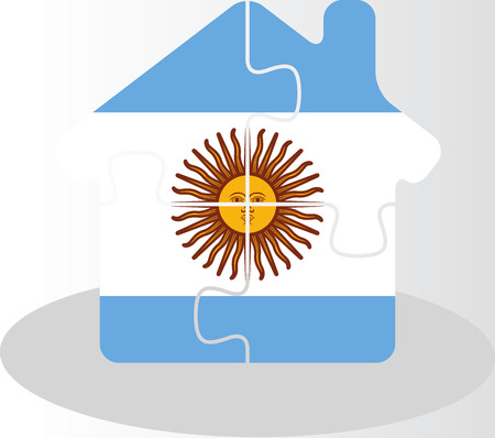 bullpen: Vector illustration of house home icon with Argentinian flag in puzzle isolated on white background Illustration