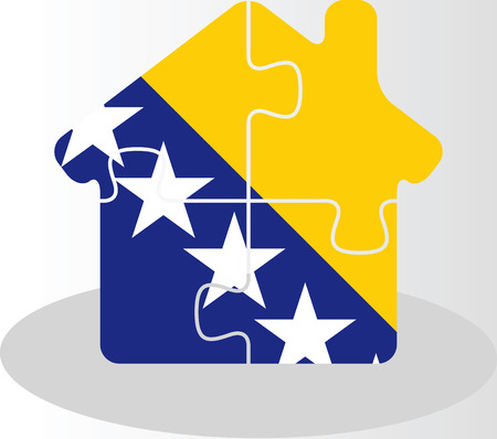 bullpen: Vector illustration of house home icon with Bosnia Herzegovinan flag in puzzle isolated on white background Illustration