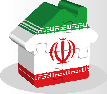 bullpen: Vector illustration of house home icon with Iranian flag in puzzle isolated on white background