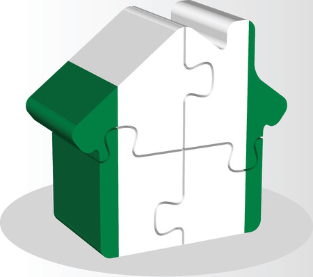 bullpen: Vector illustration of house home icon with Nigerian flag in puzzle isolated on white background Illustration