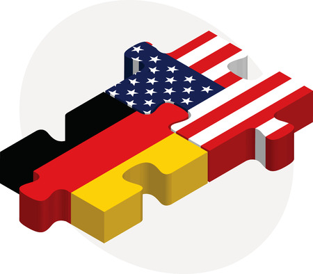 Vector illustration of German and USA Flags in puzzle isolated on white background
