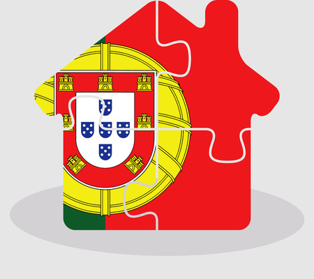 residency: Vector illustration of house home icon with Portuguese flag in puzzle isolated on white background Illustration