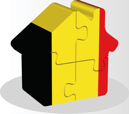 bullpen: Vector illustration of house home icon with Belgian flag in puzzle isolated on white background