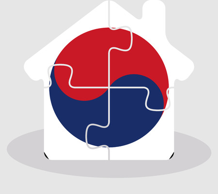 bullpen: Vector illustration of house home icon with South Korean flag in puzzle isolated on white background