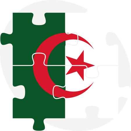 algerian flag: Vector illustration of Algerian Flag in puzzle isolated on white background Illustration