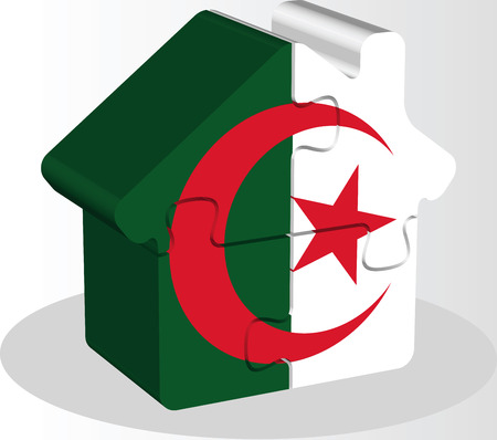 bullpen: Vector illustration of house home icon with Algerian flag in puzzle isolated on white background