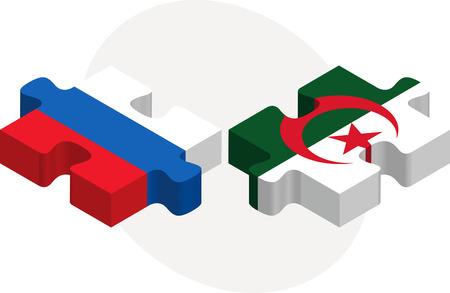 Algierski: Ilustracji wektorowych z Rosji i Algierii Flagi w puzzle na białym tle