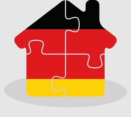 bullpen: Vector illustration of house home icon with German flag in puzzle isolated on white background Illustration