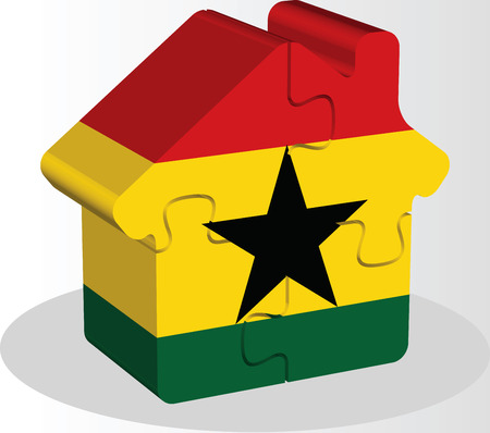 bullpen: Vector illustration of house home icon with Ghanaian flag in puzzle isolated on white background