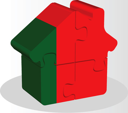 bullpen: Vector illustration of house home icon with Portuguese flag in puzzle isolated on white background Illustration