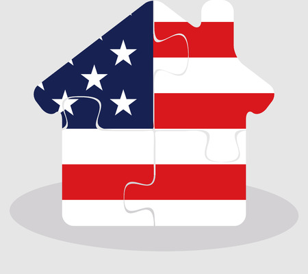bullpen: Vector illustration of house home icon with USA flag in puzzle isolated on white background