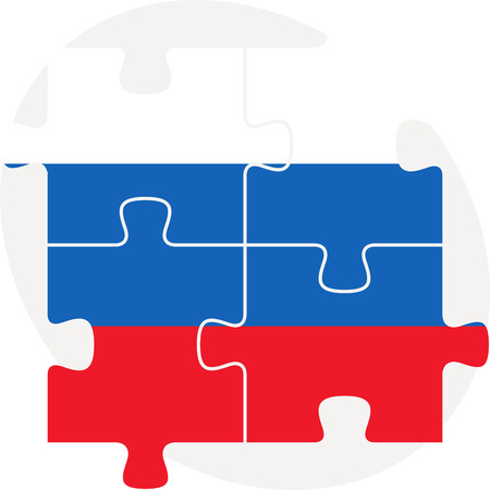 russian flag: Vector illustration of Russian Flag in puzzle isolated on white background