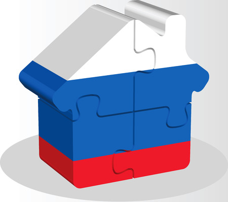 bullpen: Vector illustration of house home icon with Russian flag in puzzle isolated on white background