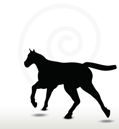 nag: horse silhouette in running position
