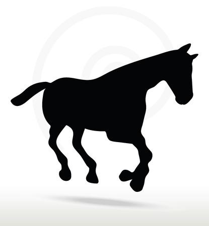 galop: silhouette de cheval en position de galop