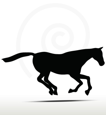 filly: Pferd Silhouette im Galopp Position Illustration