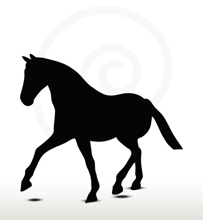 filly:  horse silhouette in Parade Walk position