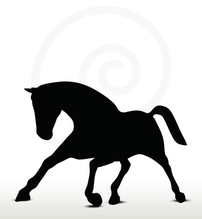 filly:  horse silhouette in running position Illustration