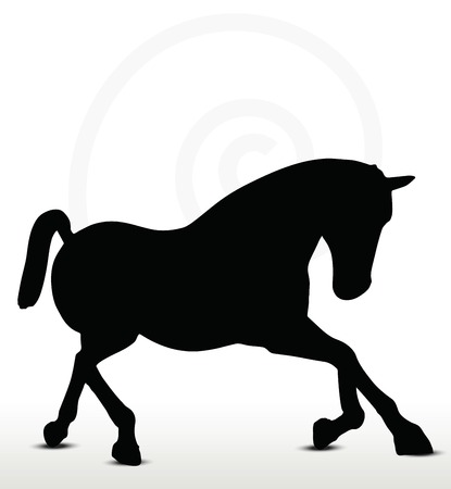 filly: EPS 10 Vektor - Pferd Silhouette in Fahrposition Illustration