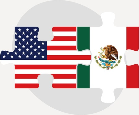 illustration of USA and Mexico Flags in puzzle isolated on white background Vector