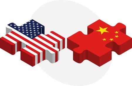米国と中国のフラグのイラスト パズルに孤立した白い背景  イラスト・ベクター素材