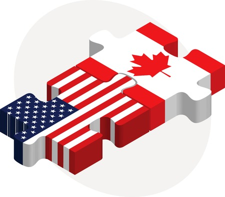 illustration of USA and Canada Flags in puzzle isolated on white background Vector