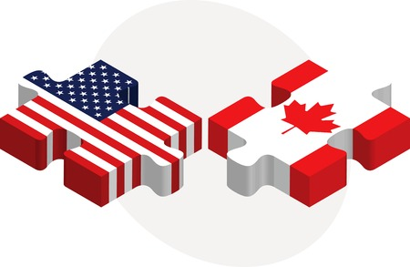 illustration of USA and Canada Flags in puzzle isolated on white background Stock Vector - 29208589