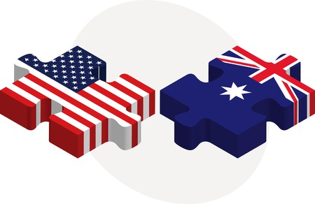 illustration of USA and Australia Flags in puzzle isolated on white background Illustration