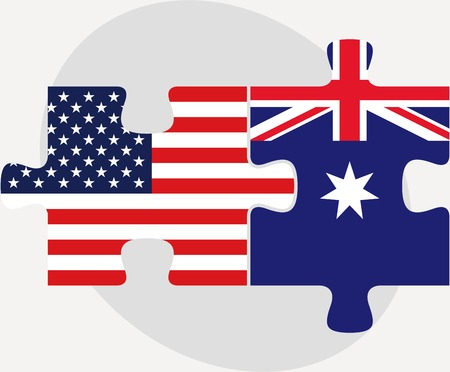 illustration of USA and Australia Flags in puzzle isolated on white background Çizim