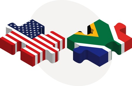 g20: illustration of USA and South Africa Flags in puzzle isolated on white background