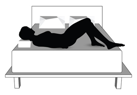 silhouette of woman in bed Vector