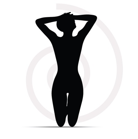 silhouette of woman on knees Vector