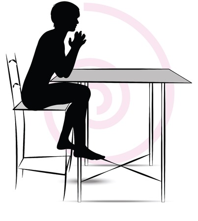 man sitting at the table Vector