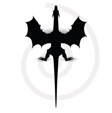 dragon silhouette in black Vector