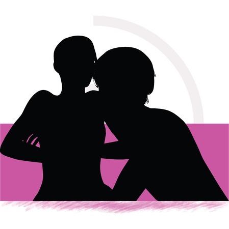 silhouette of a couple woman man in bed Vector