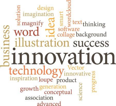 invent things: Illustration of the word innovation in word clouds isolated on white background