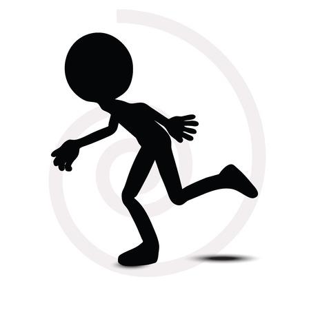 running off: 3d man in running pose