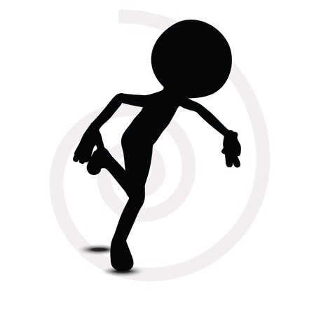 running off: 3d man in running pose