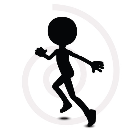 run off: 3d man in running pose