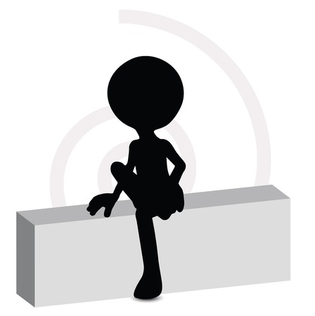 3d man in sitting pose Stock Vector - 29985125