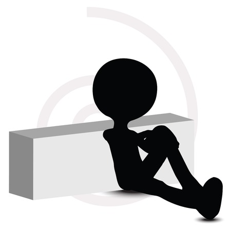 unrecognizable person: 3d man in sitting pose