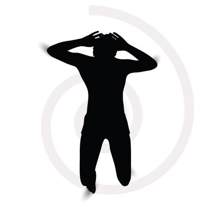 man lying down: silhouette of a man lying down