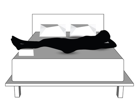 sleeping man: silhouette of a man in bed Illustration